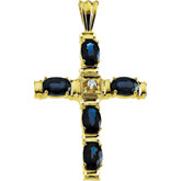 Cross Pendant with Genuine Sapphire and Diamond