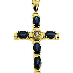 Cross Pendant with Genuine Sapphire and Diamond