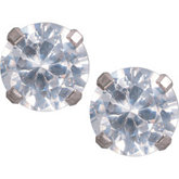 Titanium Round CZ 6mm Earrings Pair