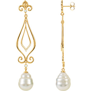 South Sea Cultured Pearl & Diamond Earrings or Mounting