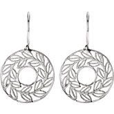 Leaf Design Earrings with Sandblast Finish