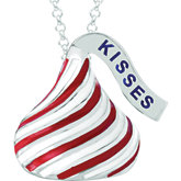 HERSHEY'S KISSES Red & White Enamel Stripes Necklace