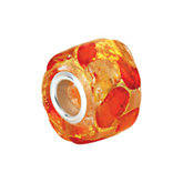 Kera® Gold & Orange Murano Glass Wheel Bead