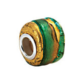 Kera® Gold & Green Murano Glass Wheel Bead