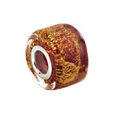 Kera® Gold & Ruby Murano Glass Wheel Bead