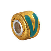 Kera® Gold & Turquoise Murano Glass Wheel Bead