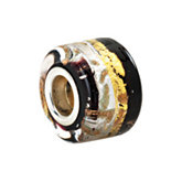 Kera® Silver, Black & Gold Murano Glass Wheel Bead