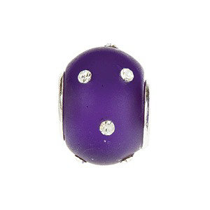 Sterling Silver 12x8mm Glass Purple Bead with Crystal Accents