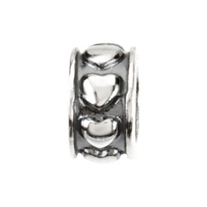 Sterling Silver 4mm Hearts Spacer Bead