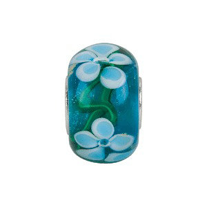 Sterling Silver 14x10mm Blue Turquoise Flower Glass Bead