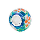 Kera® Blue with Orange Flower Glass Bead