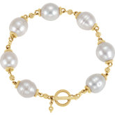 Granulated Design South Sea Cultured Pearl Toggle Bracelet