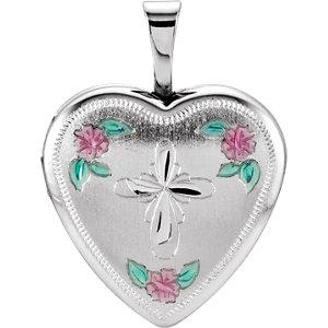 Heart Cross Locket with Enameled Roses