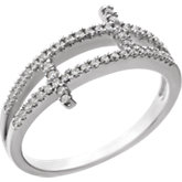Cubic Zirconia Sideways Cross Ring