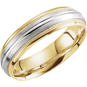 Two-Tone 6mm Grooved Milgrain Band