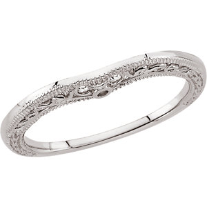 14kt White Granulated Scroll Design Aurved Band