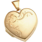 Embossed Flower Heart Locket