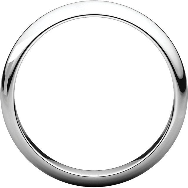 14K White 4mm Half Round Band