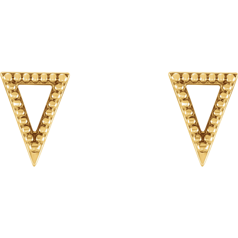 14kt Yellow Beaded Triangle Earrings