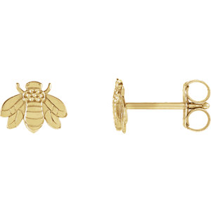 14K Yellow Bumblebee Earrings