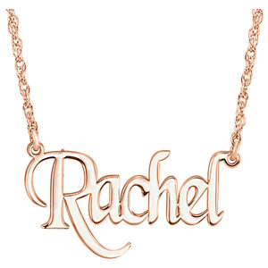 Gold Block Nameplate Necklace