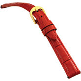 14mm Ladies Short Alligator Grain Padded Red Watch Strap