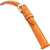 16mm Ladies Long Alligator Grain Padded Orange Watch Strap