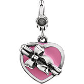Wrapped Enamel Heart Box Charm