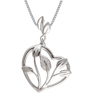 Heart-Shaped Necklace with Leaf Design