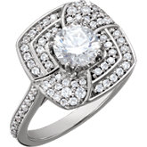 5.2mm Round Accented Engagement Ring Mounting
