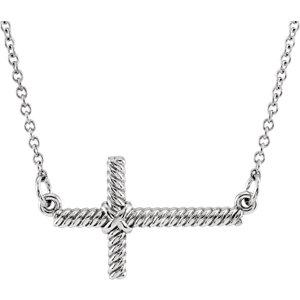 Sideways Cross Rope Design Necklace or Center
