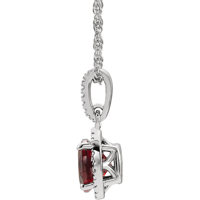 Sterling Silver Mozambique Garnet and .01 CTW Diamond 18
