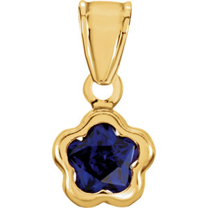 14K Yellow September CZ Birthstone Pendant