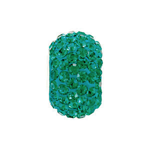 Sterling Silver 12x8mm Emerald-Colored Crystal Pave' Bead