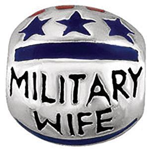 Sterling Silver 9mm Military Wife Enamel Bead