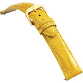 22mm Ladies Regular EZ-Change Padded Genuine Crocodile Yellow Watch Strap
