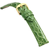 12mm Ladies Regular EZ-Change Padded Genuine Crocodile Apple Green Watch Strap