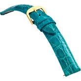 18mm Ladies Regular EZ-Change Padded Genuine Crocodile Turquoise Watch Strap