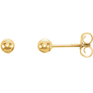14K Yellow 3mm Youth Ball Stud Earrings