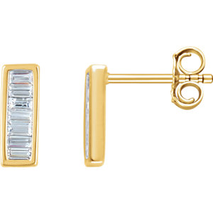 14kt Yellow 1/A ATW<br> Diamond Baguette Vertical<br> Bar Earrings