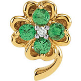 Genuine Tsavorite Garnet and Diamond Clover Pendant