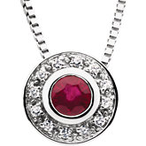 Ruby & Diamond Accented Bezel Necklace or Semi-mount