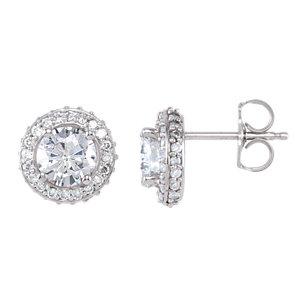 14K White Forever Brilliant® Moissanite & 3/8 CTW Diamond Halo-Style Earrings