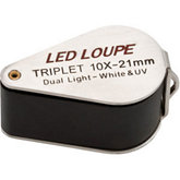 10x Illuminated Triplet Loupe with UV Light