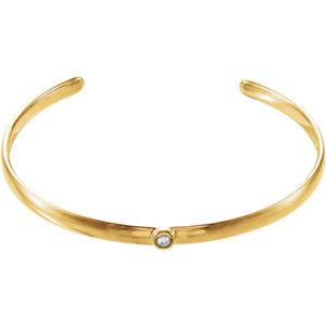 "14K Yellow 1/10 CTW Diamond 8"" Cuff Bracelet"