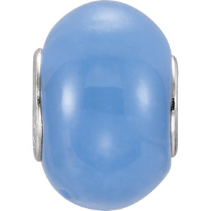 Sterling Silver 9x14mm Light Blue Glass Bead