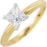 4-prong Princess Solitaire with Engraved Shank
