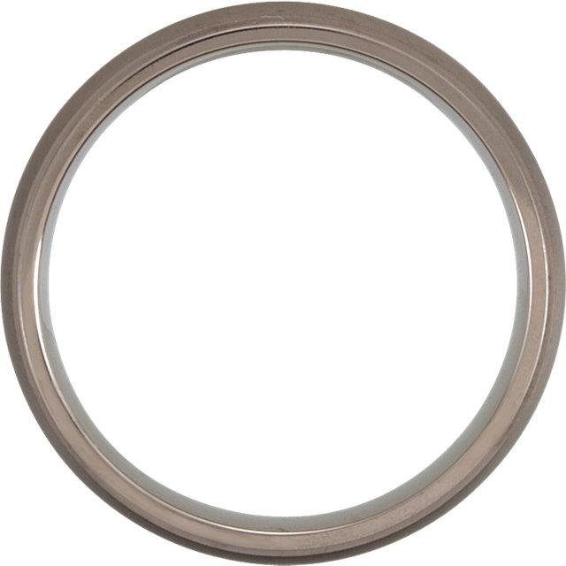 Titanium 5mm Oxidized Center Ridged Band Size 7