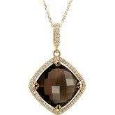 Halo-Style Antique Square Shaped Dangle Pendant or Necklace