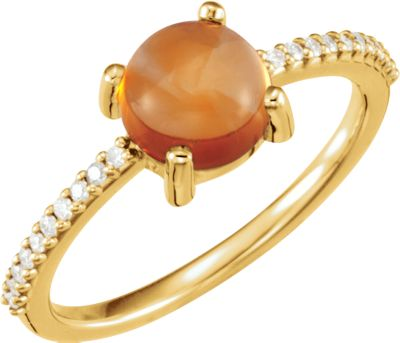 14kt Yellow 7mm Round Cabochon Citrine & 1/10 CTW Diamond Ring